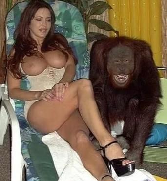 Врослая мадам с шикарными стоячими сиськами эротично позирует с обезьяной