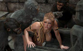 Жестокая горилла нещадно ебет распутную зоофилку порнозоо фото с обезьяной